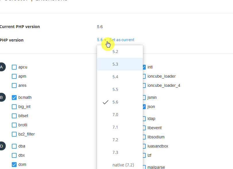 Da面板切换PHP版本以及如何选择相关组件!